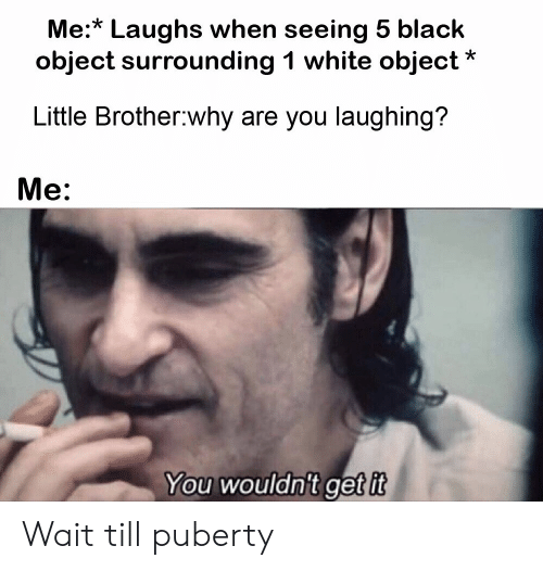 why are you laughing: Me:* Laughs when seeing 5 black  object surrounding 1 white object  Little Brother why are you laughing?  Me:  You wouldn't get it Wait till puberty