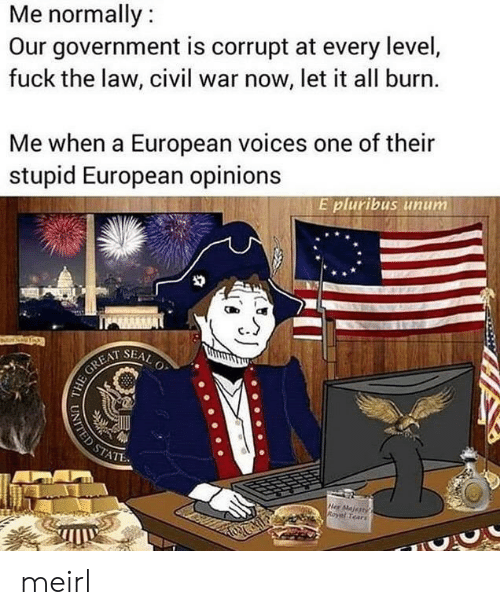 civil: Me normally:  Our government is corrupt at every level,  fuck the law, civil war now, let it all burn.  Me when a European voices one of their  stupid European opinions  E pluribus unum  SEAL  O  HE GREAT  STATE  Her Majertys  Royal Tears  UNITED ST meirl