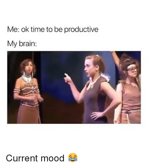 Memes, Mood, and Brain: Me: ok time to be productive  My brain: Current mood 😂