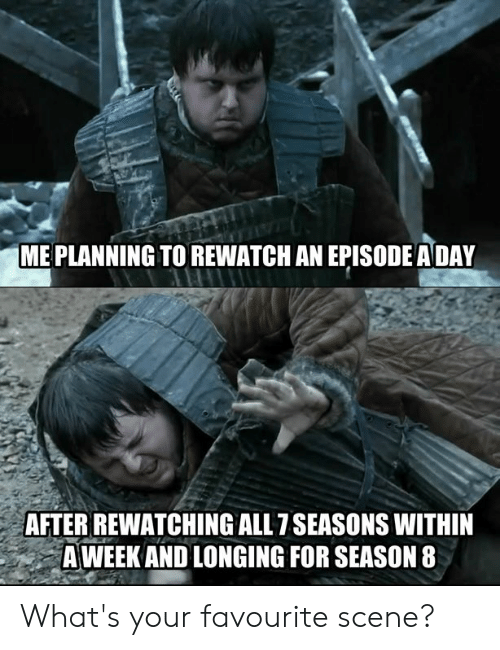 Dank, 🤖, and All: ME PLANNING TO REWATCH AN EPISODE ADAY  AFTER REWATCHING ALL 7SEASONS WITHIN  A WEEK AND LONGING FOR SEASON 8 What's your favourite scene?
