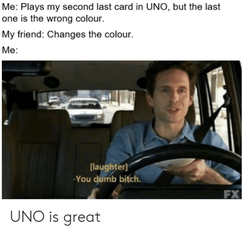 You Dumb Bitch: Me: Plays my second last card in UNO, but the last  one is the wrong colour.  My friend: Changes the colour.  Me:  laughter)  You dumb bitch.  FX UNO is great