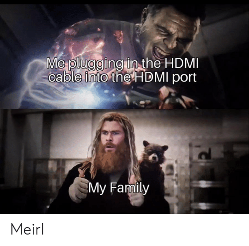 Family, MeIRL, and Hdmi: Me plugging in the HDMI  cable into the HDMI port  My Family Meirl
