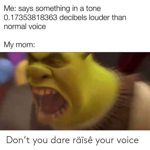 normal: Me: says something in a tone  0.17353818363 decibels louder than  normal voice  My mom: Don't you dare räīsê your voice