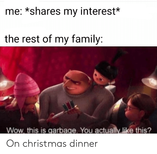 Christmas: me: *shares my interest*  the rest of my family:  Wow, this is garbage. You  actually like this? On christmas dinner