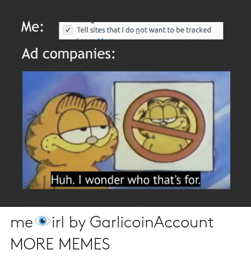 Dank, Huh, and Memes: Me:  Tell sites that I do not want to be tracked  Ad companies:  Huh. I wonder who that's for. me👁️irl by GarlicoinAccount MORE MEMES