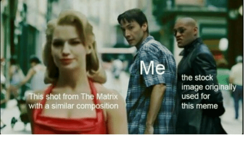 Meme, The Matrix, and Image: Me  the stock  image originally  This shot from The Matrix  with a similar composition  used for  this meme