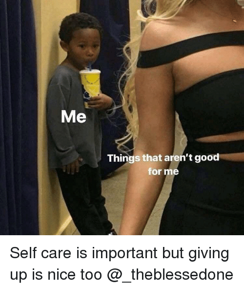 Good, Dank Memes, and Nice: Me  Things that aren't good  for me Self care is important but giving up is nice too @_theblessedone