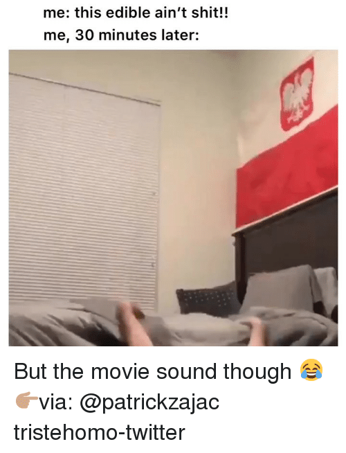Funny, Shit, and Twitter: me: this edible ain't shit!!  me, 30 minutes later: But the movie sound though 😂 👉🏽via: @patrickzajac tristehomo-twitter