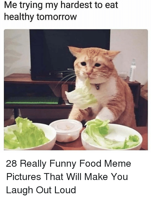 Food, Funny, and Meme: Me trying my hardest to eat  healthy tomorrow 28 Really Funny Food Meme Pictures That Will Make You Laugh Out Loud