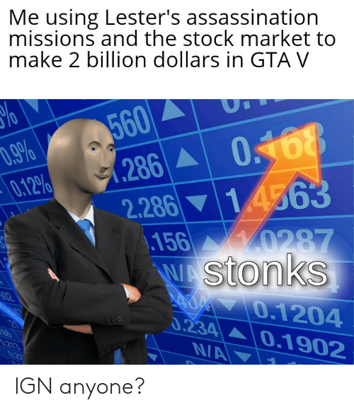 Assassination, Gta V, and Stock Market: Me using Lester's assassination  missions and the stock market to  make 2 billion dollars in GTA V  560  .286 0168  14563  D.9%  0.12%  2.286  156 0287  WAStonks  AOM 0.1204  0.234 0.1902  N/A  02  213 IGN anyone?