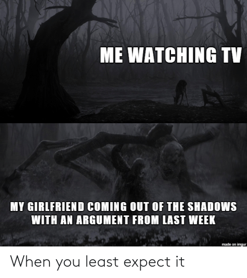 Coming Out: ME WATCHING TV  MY GIRLFRIEND COMING OUT OF THE SHADOWS  WITH AN ARGUMENT FROM LAST WEEK  made on imgur When you least expect it