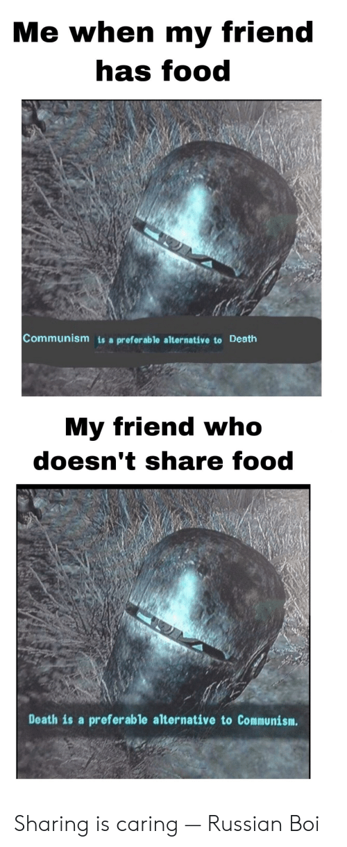 Share Food: Me when my friend  has food  Communism is a preferable alternative to Death  My friend who  doesn't share food  Death is a preferable alternative to Communism. Sharing is caring — Russian Boi