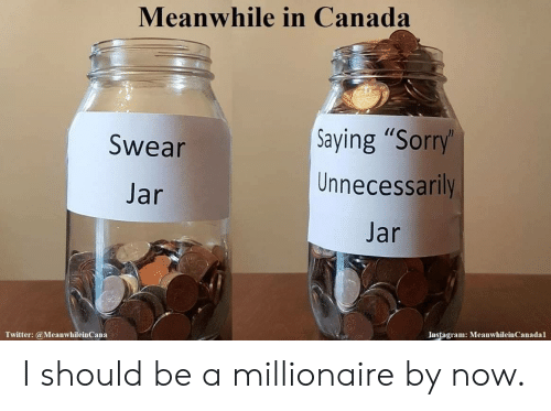 """Instagram, Sorry, and Twitter: Meanwhile in Canada  Saying """"Sorry'  Unnecessarily  Swear  Jar  Jar  Instagram: MeanwhileinCanadal  Twitter:@MeanwhileinCana I should be a millionaire by now."""