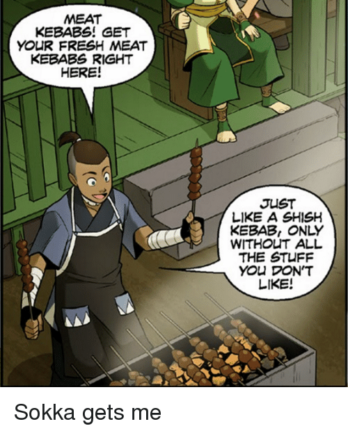 Sokka: MEAT  KEBABS! GET  YOUR FRESH MEAT  KEBABS RIGHT  HERE!  JUST  LIKE ASHISH  WITHOUT ALL  THE STUFF  You DON'T  LIKE! Sokka gets me