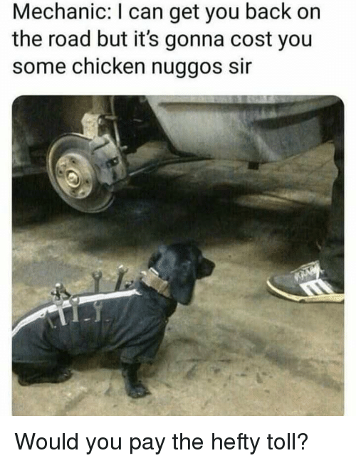 Chicken, Mechanic, and On the Road: Mechanic: I can get you back on  the road but it's gonna cost you  some chicken nuggos sir Would you pay the hefty toll?