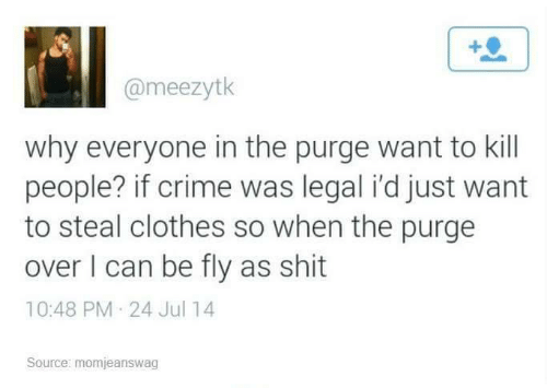 When The: @meezytk  why everyone in the purge want to kill  people? if crime was legal i'd just want  to steal clothes so when the purge  over I can be fly as shit  10:48 PM 24 Jul 14  Source: momjeanswag