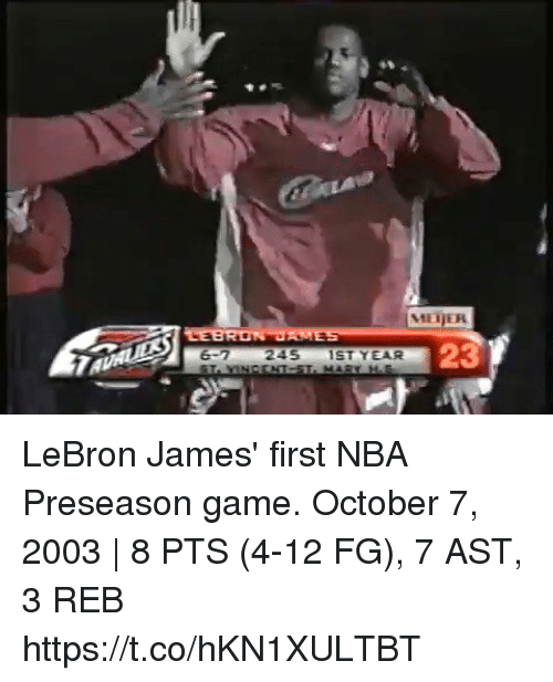 LeBron James, Memes, and Nba: MEİER  23  245IST YEAR LeBron James' first NBA Preseason game.  October 7, 2003 | 8 PTS (4-12 FG), 7 AST, 3 REB https://t.co/hKN1XULTBT