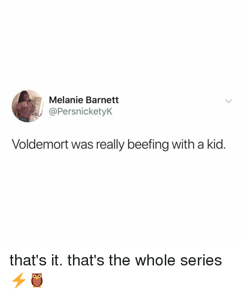 Relatable, Voldemort, and Kid: Melanie Barnetit  @PersnicketyK  Voldemort was really beefing with a kid. that's it. that's the whole series ⚡️🦉