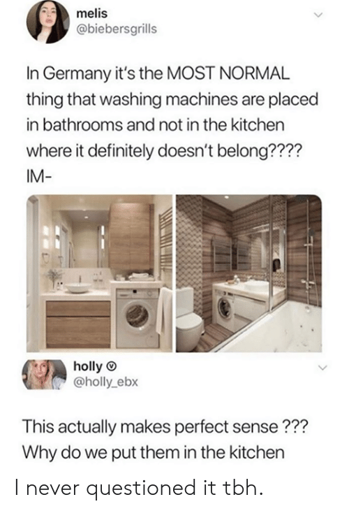 Dank, Definitely, and Tbh: melis  @biebersgrills  In Germany it's the MOST NORMAL  thing that washing machines are placed  in bathrooms and not in the kitchen  where it definitely doesn't belong????  IM-  holly  @holly_ebx  This actually makes perfect sense???  Why do we put them in the kitchen I never questioned it tbh.