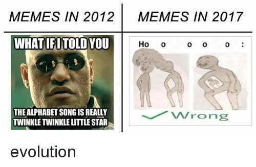 alphabets: MEMES IN 2012  MEMES IN 2017  WHATIFI TOLD YOU  Ho  o O  0  THE ALPHABET SONGIS REALLY  TWINKLE TWINKLE LITTLE STAR evolution