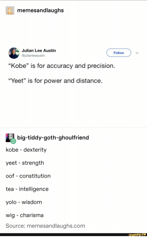 """Funny, Yolo, and Constitution: memesandlaughs  Julian Lee Austin  @julianleeaustin  Follow  """"Kobe"""" is for accuracy and precision.  35  """"Yeet"""" is for power and distance  big-tiddy-goth-ghoulfriend  kobe - dexterity  yeet - strength  oof - constitution  tea - intelligence  yolo - wisdom  wig - charisma  Source: memesandlaughs.com  funny.ce"""