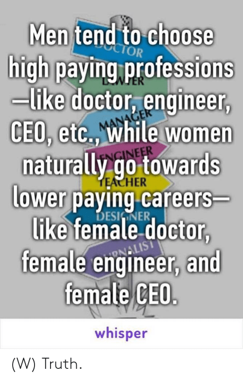 Doctor, Women, and Truth: Men tend to choose  high paying professions  -like doctor, engineer  CEO, etc., while women  naturally go towards  lower paying careers  HER  DESIINER  like female doctor,  female engineer, and  female CEO  whisper (W) Truth.