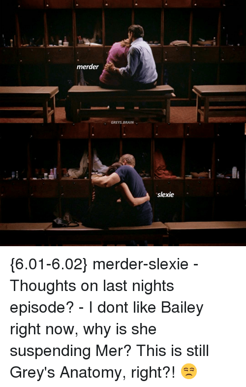 suspender: merder  GREYS, BRAIN  sslexie {6.01-6.02} merder-slexie - Thoughts on last nights episode? - I dont like Bailey right now, why is she suspending Mer? This is still Grey's Anatomy, right?! 😒