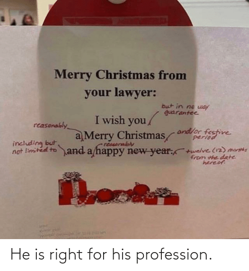 Lawyer: Merry Christmas from  your lawyer:  but in no way  guarantee  I wish you/  reasonably  andlor festive  period  a Merry Christmas  reasorably  not limited to and a happy new year:+welve (12) menths  including but  from the date  hereof He is right for his profession.