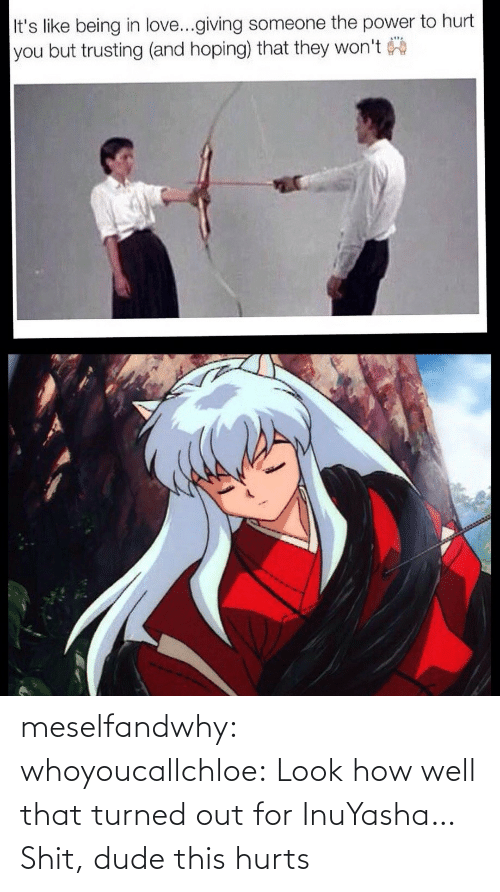for: meselfandwhy: whoyoucallchloe:  Look how well that turned out for InuYasha…  Shit, dude this hurts