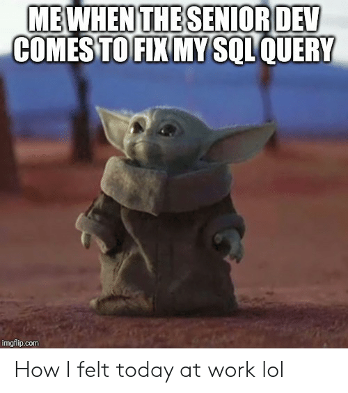 Lol, Work, and Today: MEWHEN THE SENIOR DEV  COMES TO FIX MY SQLQUERY  imgflip.com How I felt today at work lol