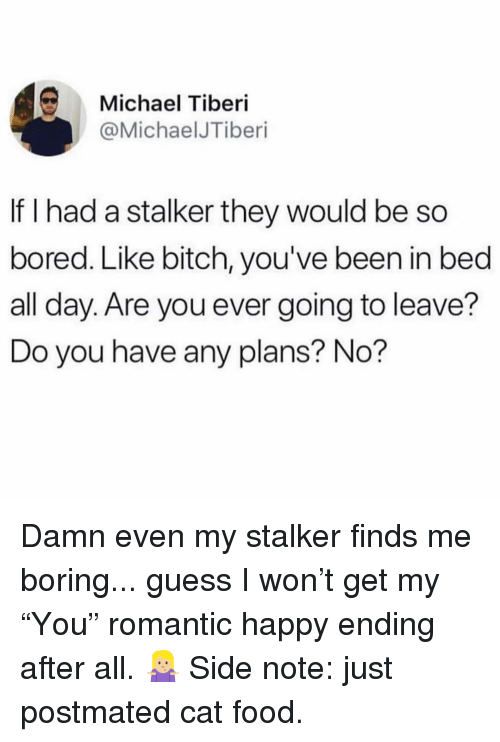 "Bitch, Bored, and Food: Michael Tiberi  @MichaelJTiberi  If I had a stalker they would be so  bored. Like bitch, you've been in bed  all day. Are you ever going to leave?  Do you have any plans? No? Damn even my stalker finds me boring... guess I won't get my ""You"" romantic happy ending after all. 🤷🏼‍♀️ Side note: just postmated cat food."