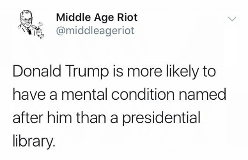 Donald Trump, Memes, and Riot: Middle Age Riot  @middleageriot  Donald Trump is more likely to  have a mental condition named  after him than a presidential  library.
