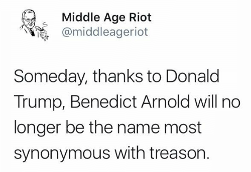 Donald Trump, Memes, and Riot: Middle Age Riot  @middleageriot  Someday, thanks to Donald  Trump, Benedict Arnold will no  longer be the name most  synonymous with treason.