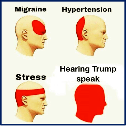 hypertension: Migraine Hypertension  Hearing Trump  speak  StresS