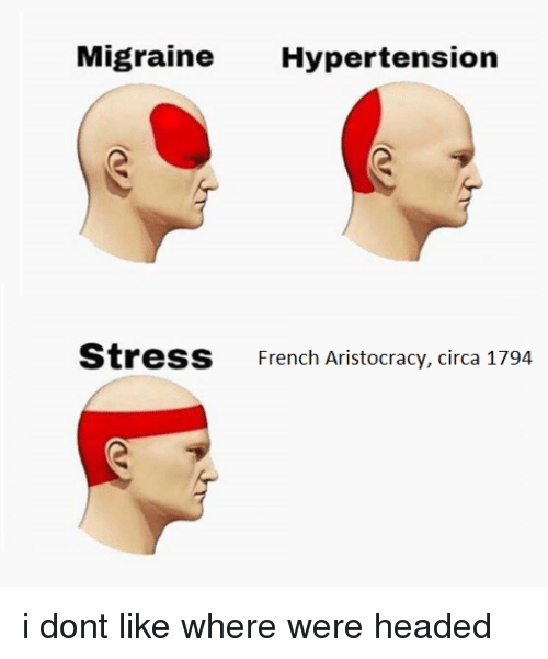 hypertension: Migraine Hypertension  St  ress  French Aristocracy, circa 1794 i dont like where were headed