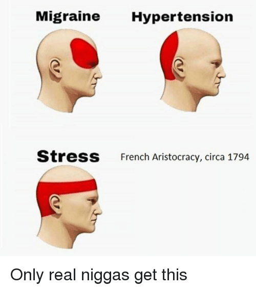 hypertension: Migraine Hypertension  StresS  French Aristocracy, circa 1794 Only real niggas get this