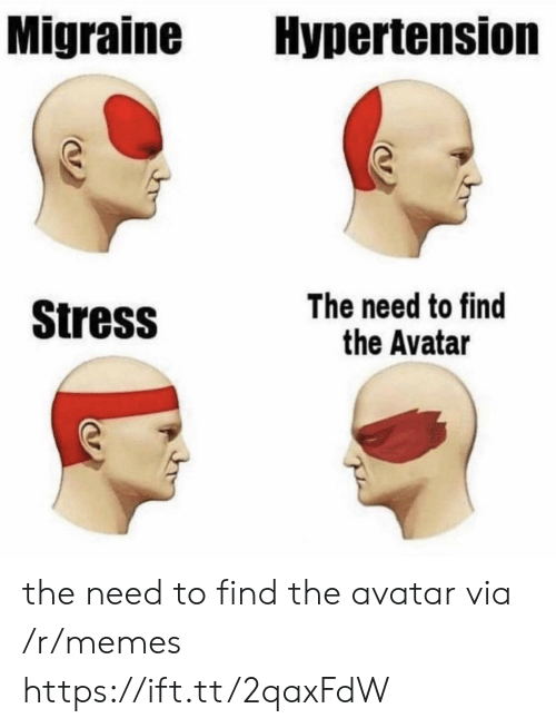 hypertension: Migraine Hypertension  Stress  The need to find  the Avatar the need to find the avatar via /r/memes https://ift.tt/2qaxFdW