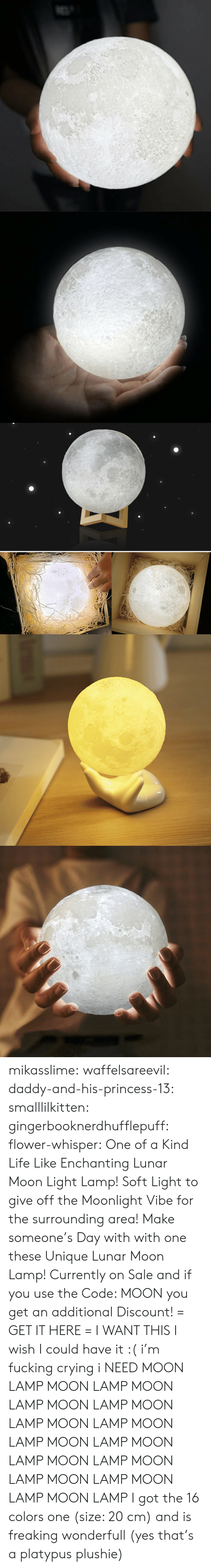 whisper: mikasslime: waffelsareevil:   daddy-and-his-princess-13:  smalllilkitten:   gingerbooknerdhufflepuff:   flower-whisper:  One of a Kind Life Like Enchanting Lunar Moon Light Lamp! Soft Light to give off the Moonlight Vibe for the surrounding area! Make someone's Day with with one these Unique Lunar Moon Lamp! Currently on Sale and if you use the Code: MOON you get an additional Discount! = GET IT HERE =   I WANT THIS   I wish I could have it :(   i'm fucking crying i NEED   MOON LAMP MOON LAMP MOON LAMP MOON LAMP MOON LAMP MOON LAMP MOON LAMP MOON LAMP MOON LAMP MOON LAMP MOON LAMP MOON LAMP MOON LAMP MOON LAMP     I got the 16 colors one (size: 20 cm) and is freaking wonderfull (yes that's a platypus plushie)
