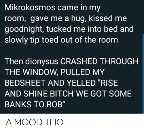 """Bitch, Mood, and Banks: Mikrokosmos came in my  room, gave me a hug, kissed me  goodnight, tucked me into bed and  slowly tip toed out of the room  Then dionysus CRASHED THROUGH  THE WINDOW, PULLED MY  BEDSHEET AND YELLED """"RISE  AND SHINE BITCH WE GOT SOME  BANKS TO ROB"""" A MOOD THO"""