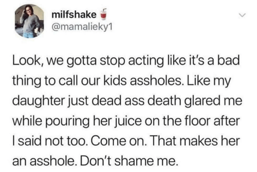 shame: milfshake  @mamalieky1  Look, we gotta stop acting like it's a bad  thing to call our kids assholes. Like my  daughter just dead ass death glared me  while pouring her juice on the floor after  Isaid not too. Come on. That makes her  an asshole. Don't shame me.