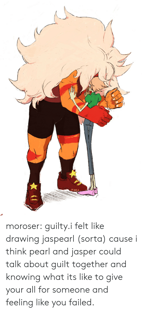 Tumblr, Blog, and Com: MIRU moroser:  guilty.i felt like drawing jaspearl (sorta) cause i think pearl and jasper could talk about guilt together and knowing what its like to give your all for someone and feeling like you failed.