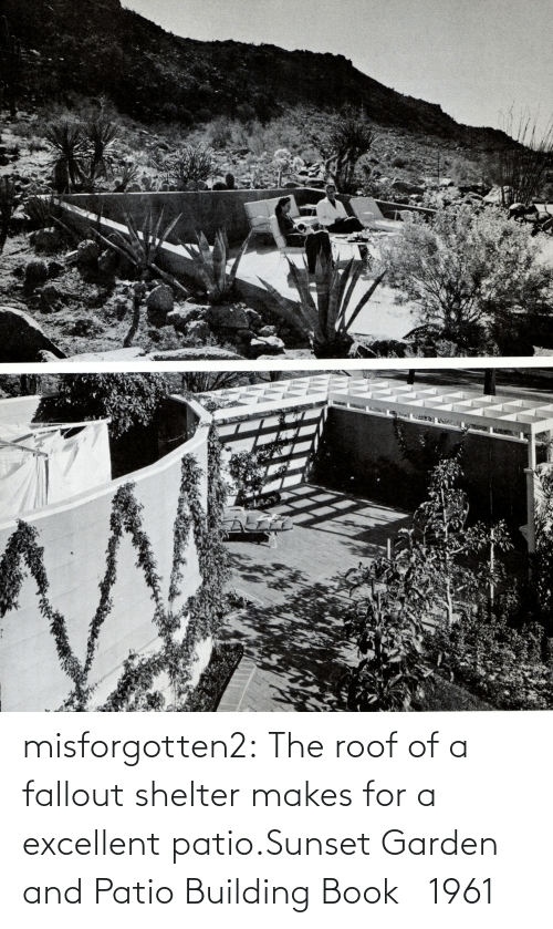 building: misforgotten2:  The roof of a fallout shelter makes for a excellent patio.Sunset Garden and Patio Building Book  1961