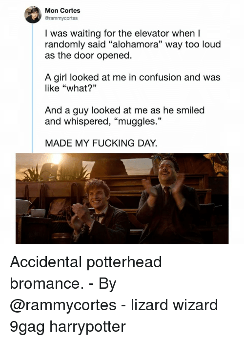 """9gag, Fucking, and Memes: Mon Cortes  @rammycortes  I was waiting for the elevator when I  randomly said """"alohamora"""" way too loud  as the door opened  A girl looked at me in confusion and was  like """"what?""""  And a guy looked at me as he smiled  and whispered, """"muggles  13  MADE MY FUCKING DAY. Accidental potterhead bromance.⠀ -⠀ By @rammycortes⠀ -⠀ lizard wizard 9gag harrypotter"""