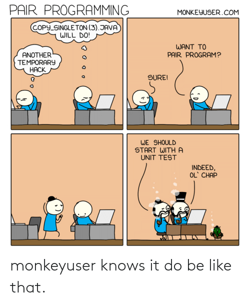 Be like: monkeyuser knows it do be like that.
