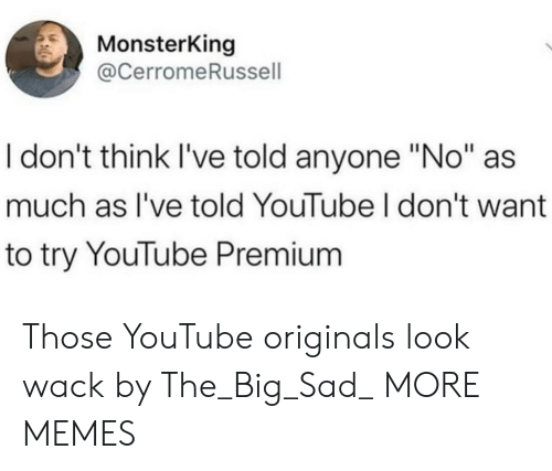 """Dank, Memes, and Target: MonsterKing  @CerromeRussell  I don't think I've told anyone """"No""""  much as I've told YouTube I don't want  to try YouTube Premium Those YouTube originals look wack by The_Big_Sad_ MORE MEMES"""