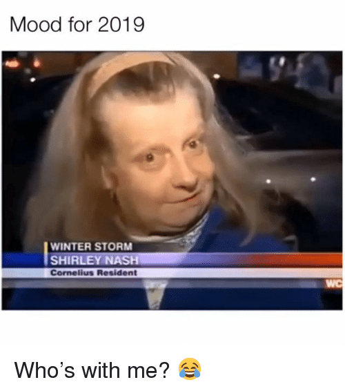 Memes, Mood, and Winter: Mood for 2019  WINTER STORM  SHIRLEY NASH  Cornelius Resident  WC Who's with me? 😂