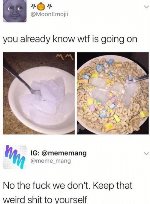 Meme, Shit, and Weird: @MoonEmojii  you already know wtf is going on  Ww  IG: @mememang  @meme_mang  No the fuck we don't. Keep that  weird shit to yourself