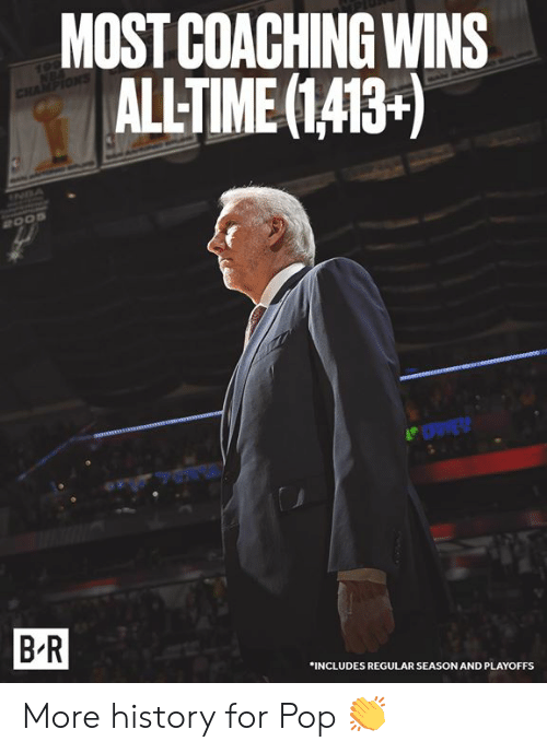 Pop, History, and For: MOST COACHING WINS  ALLTIME(1413+)  RvE  B-R  INCLUDES REGULAR SEASON AND PLAYOFFS More history for Pop 👏
