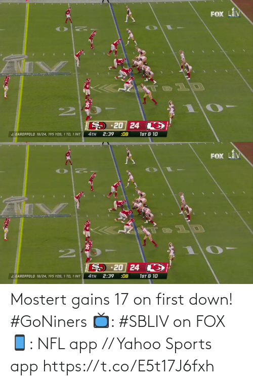gains: Mostert gains 17 on first down! #GoNiners  📺: #SBLIV on FOX 📱: NFL app // Yahoo Sports app https://t.co/E5t17J6fxh