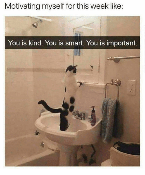 Smart, You, and For: Motivating myself for this week like  You is kind. You is smart. You is important.